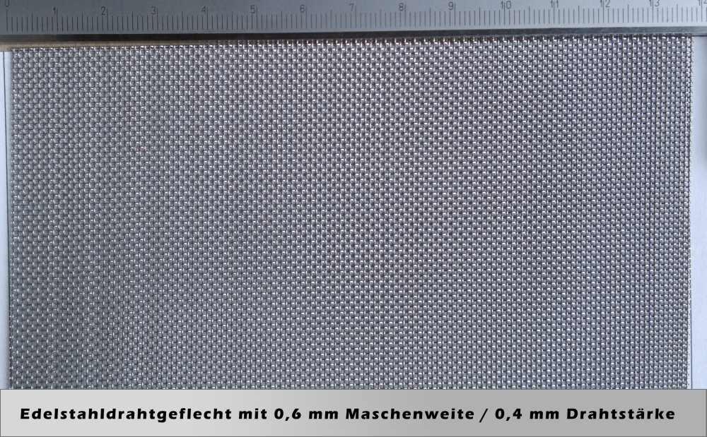 Drahtgeflecht mit 0,6mm Maschenweite / 0,4mm Drahtstärke