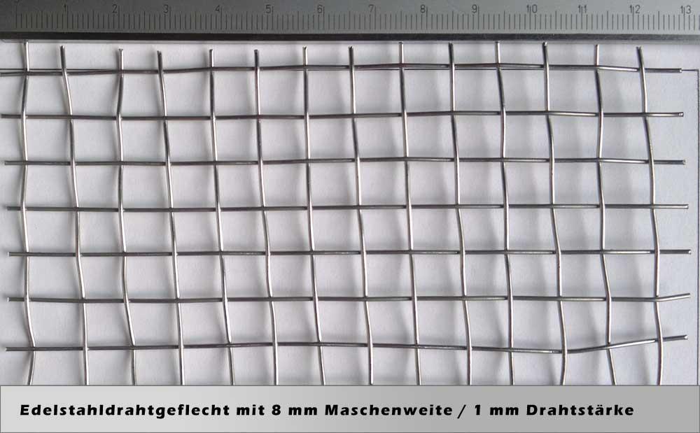 Drahtgeflecht mit 8,00 mm Maschenweite / 1,00 mm Drahtstärke