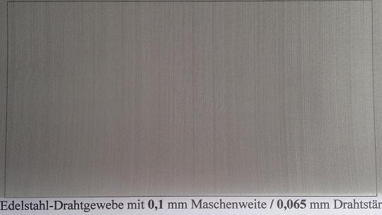 Drahtgeflecht mit 0,1mm Maschenweite, 0,065mm Drahtstärke
